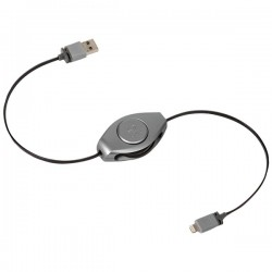 Retrak / Emerge - ETLTUSBSPGY - ReTrak(R) ETLTUSBSPGY Retractable Charge & Sync USB Cable with Lightning(R) Connector (Space Gray)