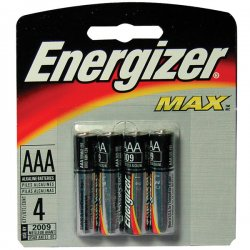 Energizer - E92BP-4 - Energizer Max Alkaline AAA Batteries - AAA - Alkaline - 1.5 V DC - 4 / Pack