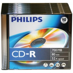 Philips - D52N300 - Philips 52x CD-R Media - 700MB - 10 Pack