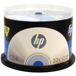 Hewlett Packard (HP) - CR52050CB - HP CD Recordable Media - CD-R - 52x - 700 MB - 50 Pack Cake Box - 1.33 Hour Maximum Recording Time