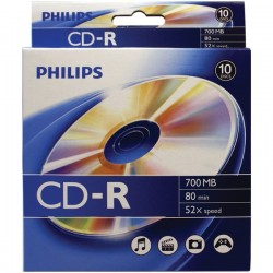 Philips - CR7D5BB10/17 - Philips(R) CR7D5BB10/17 700MB 80-Minute CD-Rs, 10-ct Peggable Box