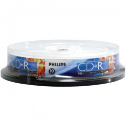 Philips - CR7D5NP10/17 - Philips(R) CR7D5NP10/17 700MB 80-Minute 52x CD-Rs (10-ct Cake Box Spindle)