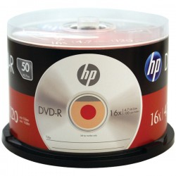 Hewlett Packard (HP) - DM16050CB - HP DVD Recordable Media - DVD-R - 16x - 4.70 GB - 50 Pack Cake Box - 120mm - Single-layer Layers - 2 Hour Maximum Recording Time