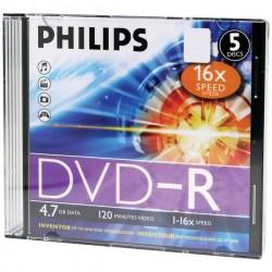 Philips - DM4S6S05F/17 - Philips(R) DM4S6S05F/17 4.7GB 16x DVD-Rs with Slim Jewel Cases, 5 pk