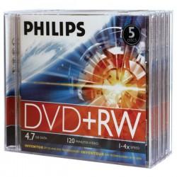 Philips - DW4S4J05F/17 - Philips(R) DW4S4J05F/17 4.7GB 4x DVD+RWs with Jewel Cases, 5 pk