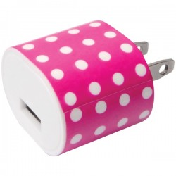 iEssentials - IE-AC1USB-PPD - iEssentials(R) IE-AC1USB-PPD 1-Amp USB Wall Charger (Pink Polka Dot)