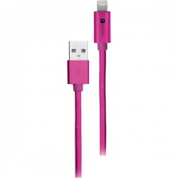 iEssentials - IE-BC10IP5-PK - iEssentials(R) IE-BC10IP5-PK Braided USB Cable with Lightning(R) Connector, 10ft (Pink)