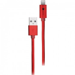 iEssentials - IE-BC10IP5-RD - iEssentials(R) IE-BC10IP5-RD Braided USB Cable with Lightning(R) Connector, 10ft (Red)