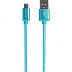 iEssentials - IE-BC10MICRO-BL - iEssentials(R) IE-BC10MICRO-BL Braided Micro USB Charge & Sync Cable, 10ft (Blue)