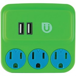 Uber Collection - 25113 - Uber(TM) 25113 3-Outlet Power Tap with 2 USB Ports (Green & Blue)