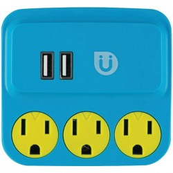 Uber Collection - 25114 - Uber(TM) 25114 3-Outlet Power Tap with 2 USB Ports (Blue & Yellow)