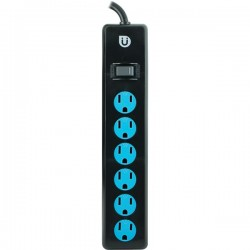 Uber Collection - 25115 - Uber(TM) 25115 6-Outlet Power Strip (Black & Blue)