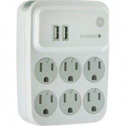 GE (General Electric) - 25797 - GE(R) 25797 6-Outlet Surge Protector with 2 USB Charging Ports