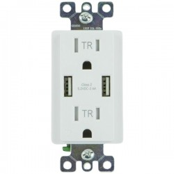 GE (General Electric) - 36064 - GE(R) 36064 2-Outlet In-Wall Receptacle with 2 USB Ports