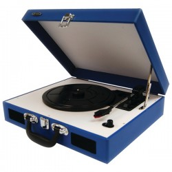 Jensen - TA410BL - Jensen Jta410bl Blue Portable 3 Speed Stereo Turntable With