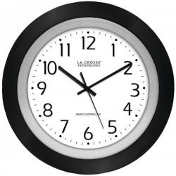 La Crosse Technologies - 404-1225 - La Crosse Technology(R) 404-1225 10 Black & Silver Atomic Wall Clock
