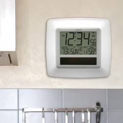 La Crosse Technologies - WT-8112U-WH - La Crosse Technology(R) WT-8112U-WH Solar Atomic Digital Wall Clock with Indoor Temperature (White)