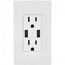 Leviton - T5632-W - Leviton Combination Devices - 2 x Power Receptacles - 120 V AC / 20 A Wall Mountable