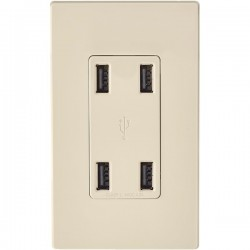 Leviton - USB4PT - Leviton USB4P Power/Data Outlet - 4 x Power Receptacles - 120 V AC / 4.20 A In-wall