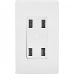 Leviton - USB4P-W - Leviton USB Charger Devices - 125 V AC / 4.20 A Wall Mountable
