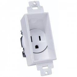 Midlite - 4641-W - Midlite D cor Recessed Receptacle - White - 15 A