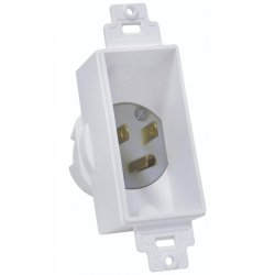 Midlite - 4642-W - Midlite D cor Recessed Power Inlet - White - 110 V AC / 15 A