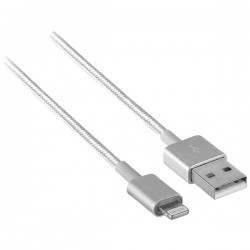 Axxess - AXM-I5USBMTS - Axxess(R) Mobility AXM-I5USBMTS Charge/Sync Cable with Lightning(R) & USB Connectors with Metal Ends, 3.3ft (Silver)