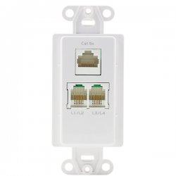 Channel Plus - WPW-PDC - (1) CAT5e RJ45 and (2) Phone and (2) Coax Knockouts - White