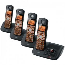 Motorola - K704B - Motorola K704B DECT 6.0 Cordless Phone - Black - Cordless - 1 x Phone Line - 3 x Handset - Answering Machine