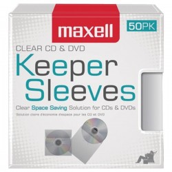 Maxell - 190150 - Maxell CD/DVD Keeper Sleeves - Clear (50 Pack) - Sleeve - Plastic - Clear