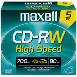 Maxell - 630025 - Maxell CD Rewritable Media - CD-RW - 4x - 700 MB - 5 Pack - 120mm - 1.33 Hour Maximum Recording Time