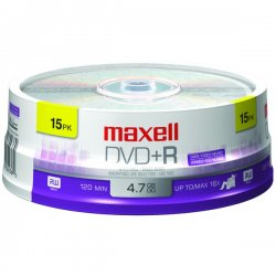 Maxell - 639008 - Maxell 16x DVD+R Media - 4.7GB - 15 Pack
