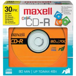 Maxell - 648451 - Maxell Designer CD Recordable Media - CD-R - 48x - 700 MB - 30 Pack Paper Sleeve - 120mm - 1.33 Hour Maximum Recording Time