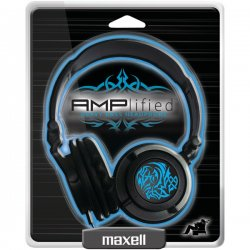 Maxell - 190265 - AMPB - Maxell AMPlified Headphone - Stereo - Blue - Wired - 32 Ohm - 10 Hz 23 kHz - Earbud - Binaural - Ear-cup