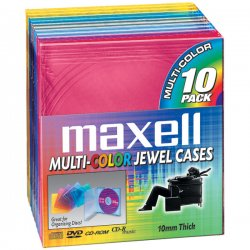 Maxell - 190072 - Maxell CD-350 Standard Jewel Cases - Jewel Case - Book Fold - Blue, Gold, Teal, Red, Chocolate