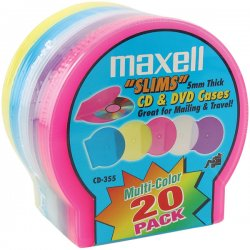 Maxell - 190073 - Maxell CD-355 Jewel Cases - Jewel Case - Book Fold - Plastic - Blue, Red, Gold, Teal, Brown - 1 CD/DVD