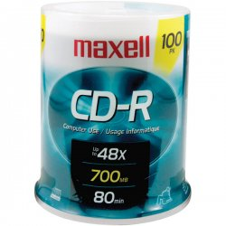 Maxell - 648200 - Maxell CD Recordable Media - CD-R - 48x - 700 MB - 100 Pack Spindle - 120mm - 1.33 Hour Maximum Recording Time