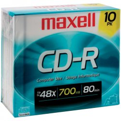 Maxell - 648210 - Maxell CD Recordable Media - CD-R - 40x - 700 MB - 10 Pack Slim Jewel Case - 120mm - 1.33 Hour Maximum Recording Time