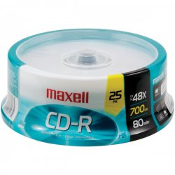 Maxell - 648445 - Maxell CD Recordable Media - CD-R - 48x - 700 MB - 25 Pack Spindle - 120mm - 1.33 Hour Maximum Recording Time