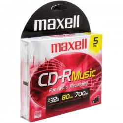 Maxell - 625132 - Maxell Music CD-R Media - 700MB - 120mm Standard - 5 Pack