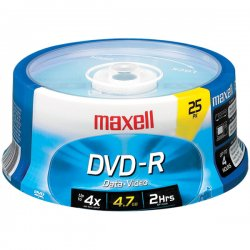 Maxell - 638010 - Maxell DVD Recordable Media - DVD-R - 16x - 4.70 GB - 25 Pack Spindle - 120mm - 2 Hour Maximum Recording Time