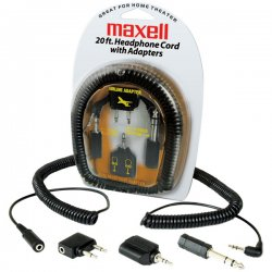 Maxell - 190399 - Maxell HP-20 Extension Cord with 4 Adapters - Mini-phone Male - Mini-phone Female - 20ft
