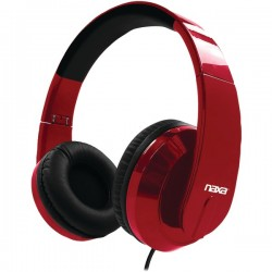 Naxa - NE-955 RED - Naxa(R) NE-955 RED METRO Foldable Stereo Headphones (Red)