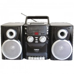 Naxa - NPB426 - Naxa NPB-426 Mini Hi-Fi System - 16 W RMS - iPod Supported - Black - CD Player, Cassette Recorder - 1 Disc(s) - AM, FM - 2 Speaker(s) - CD-DA, MP3
