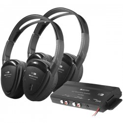 Power Acoustik - HP-902RFT - Power Acoustik(R) HP-902RFT 2 Sets of 2-Channel RF 900MHz Wireless Headphones with Transmitter