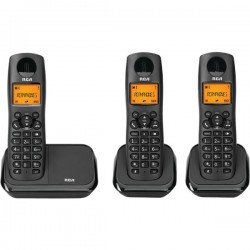 RCA - 2161-3BKGA - Element Series DECT 6.0 Cordless Phone with Caller ID 3-Handset System, Black