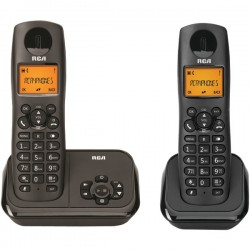 RCA - 2162-2BKGA - Element Series DECT 6.0 Cordless Phone with Caller ID and Digital Answering System 2-Handset System, Black