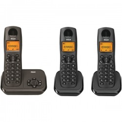 RCA - 2162-3BKGA - Element Series DECT 6.0 Cordless Phone with Caller ID and Digital Answering System 3-Handset System, Black
