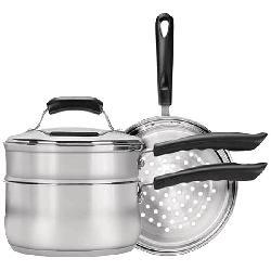 Range Kleen - CW2011 - RANGE KLEEN CW2011 Basics 3-Quart Saucepan with Double Boiler/Steamer Insert Set