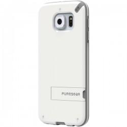 PureGear - 99557VRP - PureGear(R) 99557VRP Slim Shell Case with Kickstand for Samsung(R) Galaxy S(R) 6 (White/Gray)
